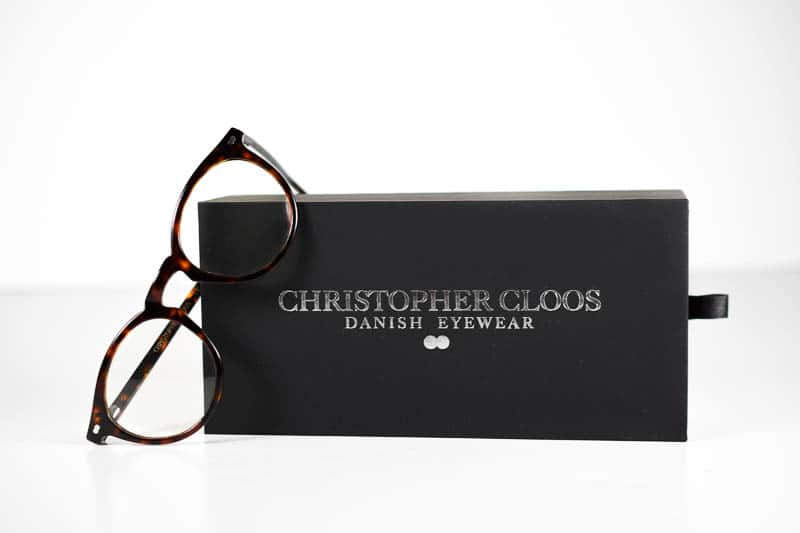 Christopher Cloos paloma blue light glasses and black case