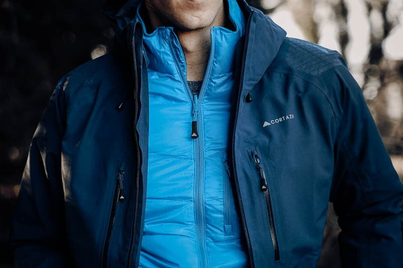 Cortazu hard shell jacket in contrast with mid layer zip in jacket