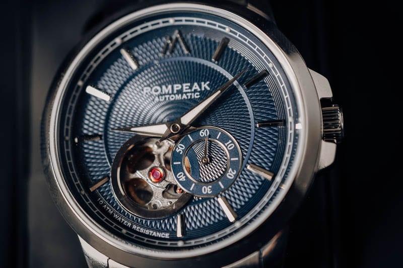 Pompeak gentlemens watch dial closeup