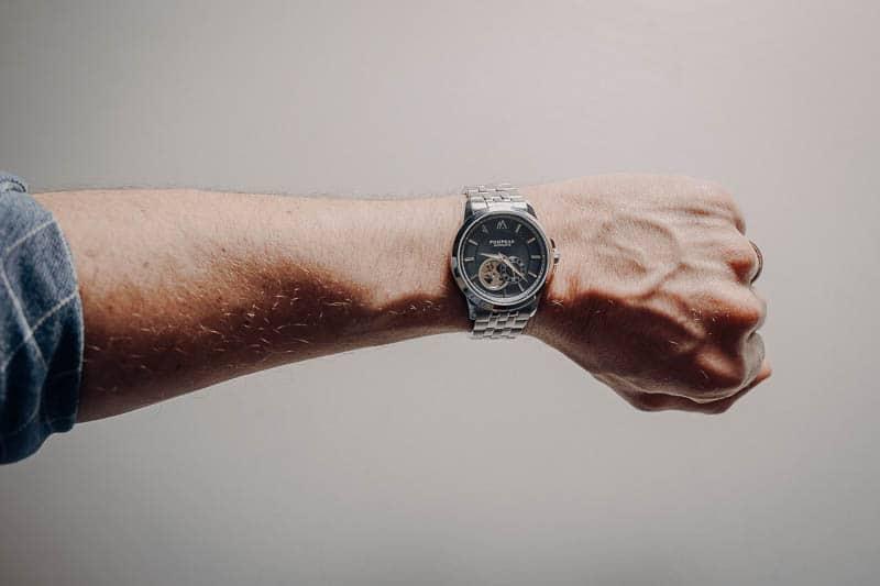 Pompeak watches on wrist