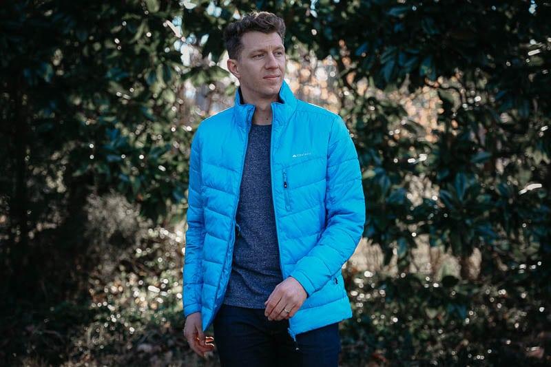 model walking in Cortazu light blue jacket