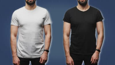 Delta Male Two Men in Plain T Shirts Standing Next to Each Other