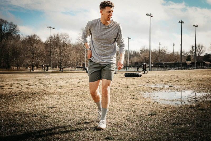 model wearing workout shorts Keap