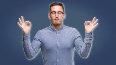 Meditation for Men Man in Blue Shirt Meditating and Holding Hands Up