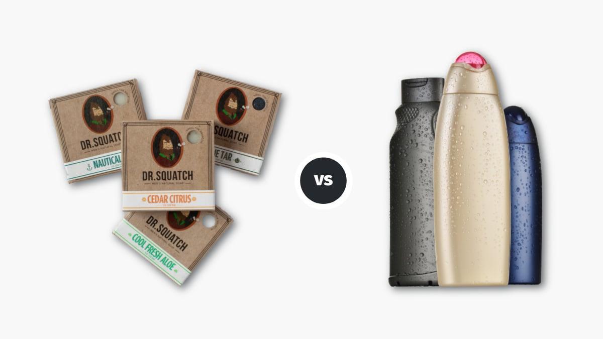 Bar soap vs body wash Dr Squatch Body Soap vs Generic Body Wash Bottles