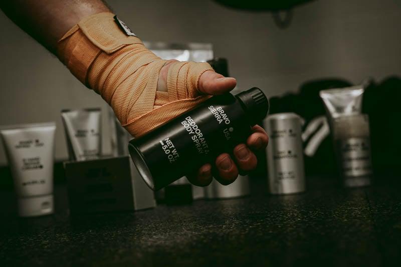 Bravo Sierra body spray in hand