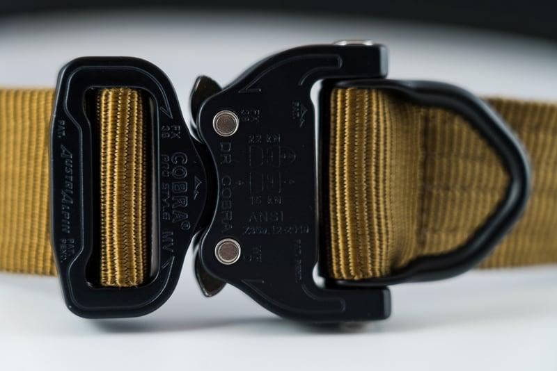 Close up of tan Klik Belt