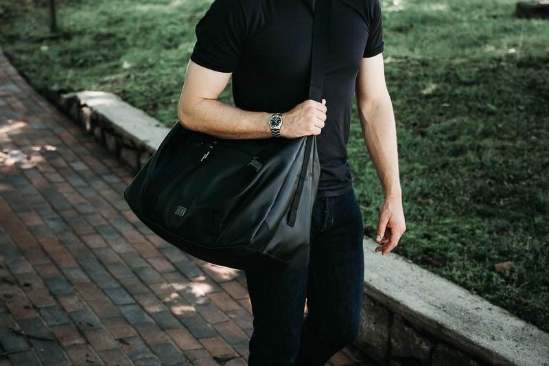 Db Bags weekender bag on hip