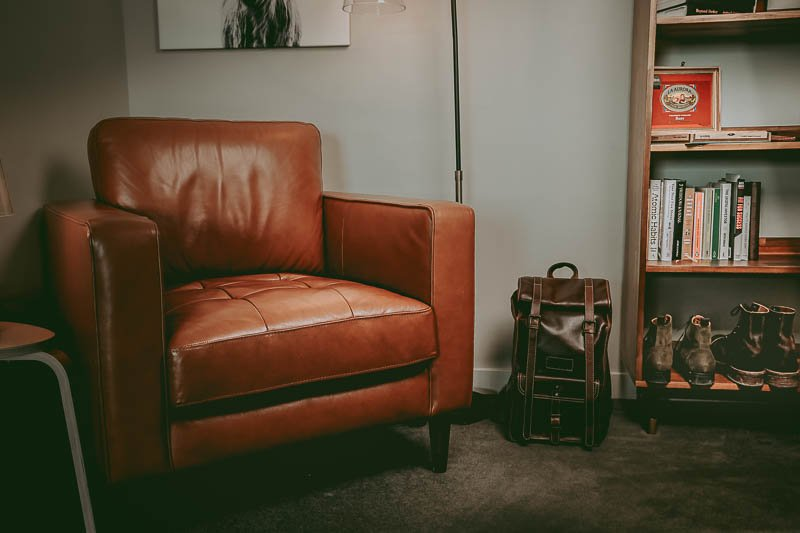 leather chair in man cave 1