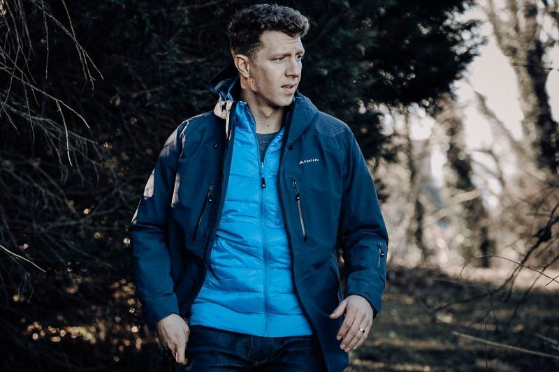 Cortazu hard shell mountain jacket with mid layer zip in jacket in ibiza blue