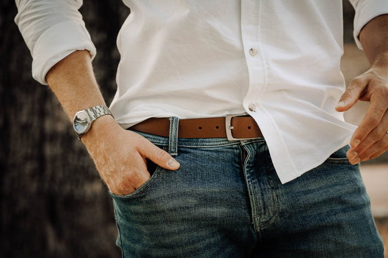 Hyde brown leather belt white shirt