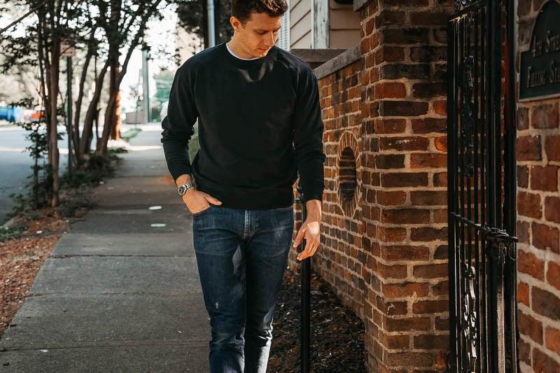 KOTN crew neck sweater on model