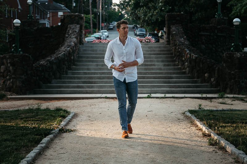 KOTN oxford shirt and jeans