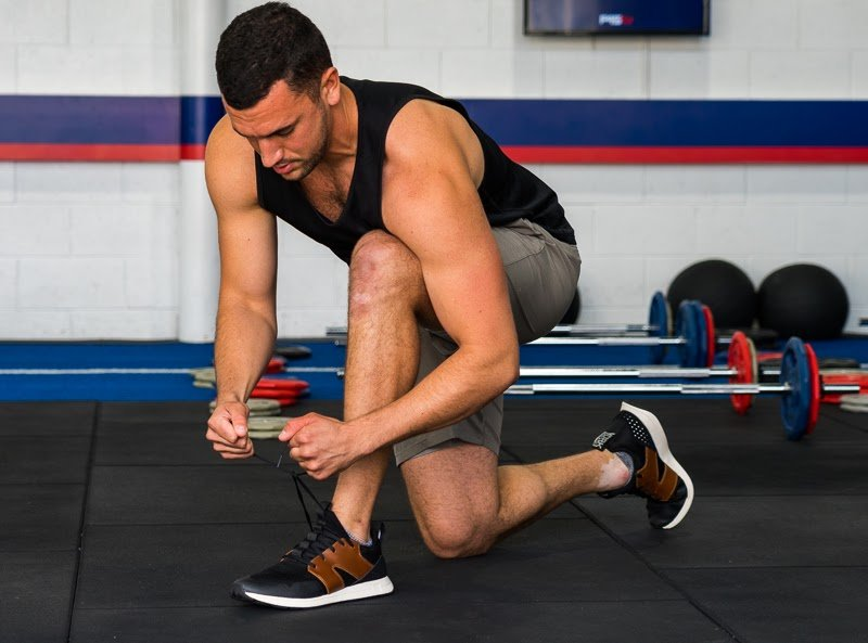 Model tying shoes