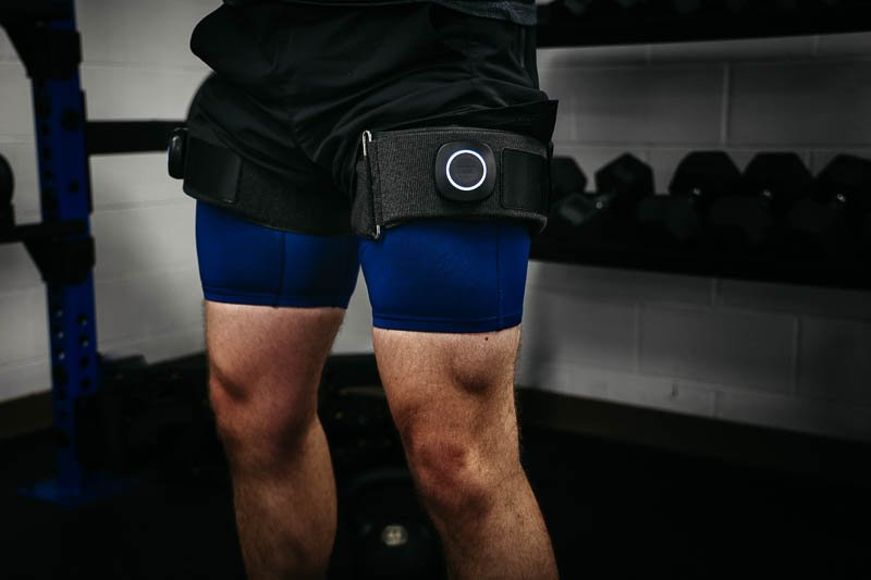 SAGA Fitness bfr cuffs closeup on legs