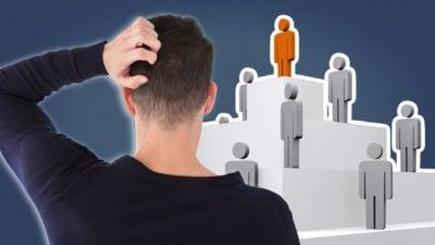 Socio Sexual Hierarchy Graphic of Man Scratching Head Next to Social Hierarchy Pyramid