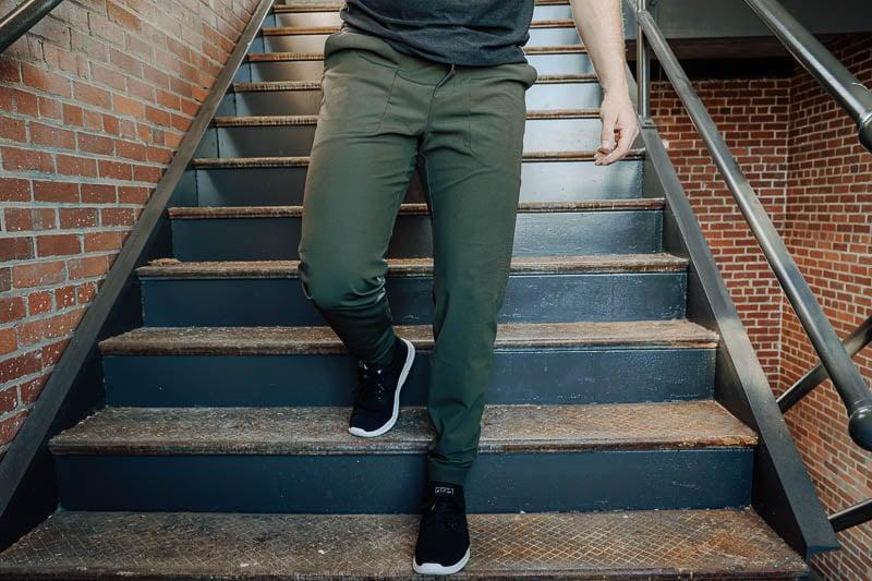 lululemon abc jogger on model walking down stairs
