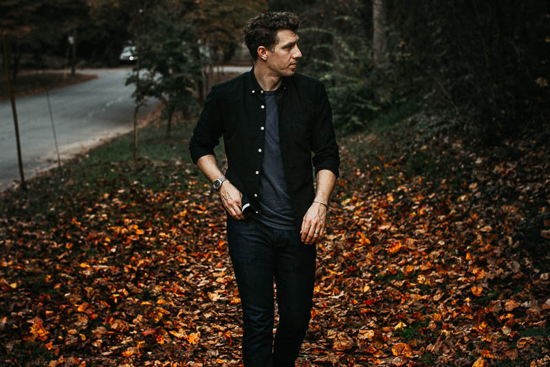 Frank and Oak black oxford cloth button down shirt on model