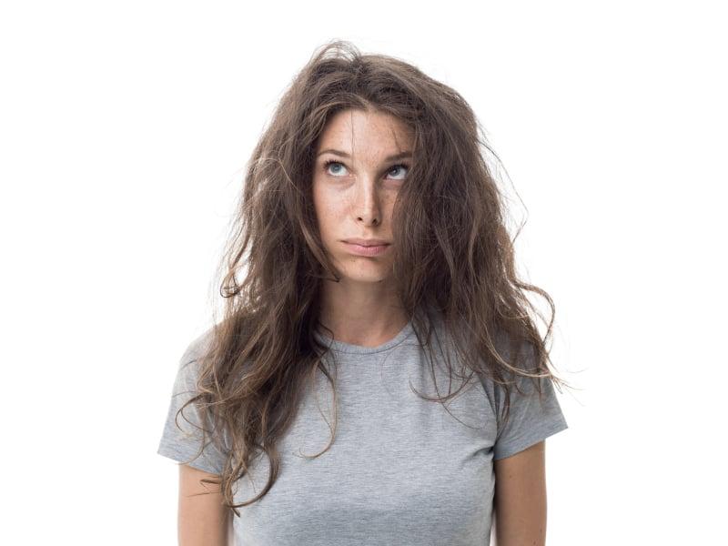 Girl having a bad hair day