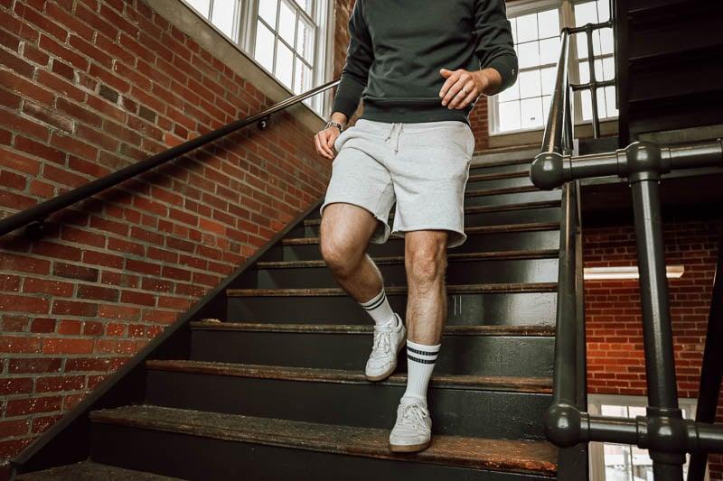 Homage cut off sweat shorts on model