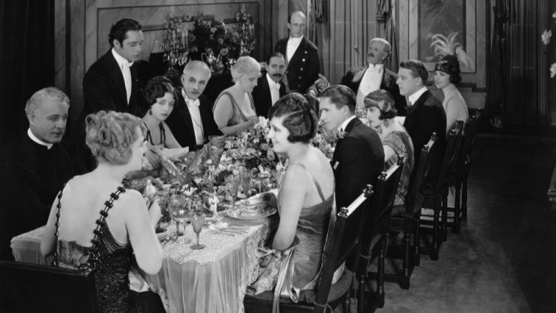 Old school dinner party in black and white