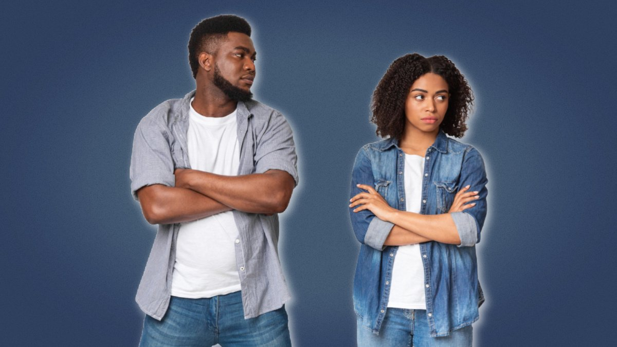 Signs a girl doesnt like you Black man looking at disinterested black woman with arms folded