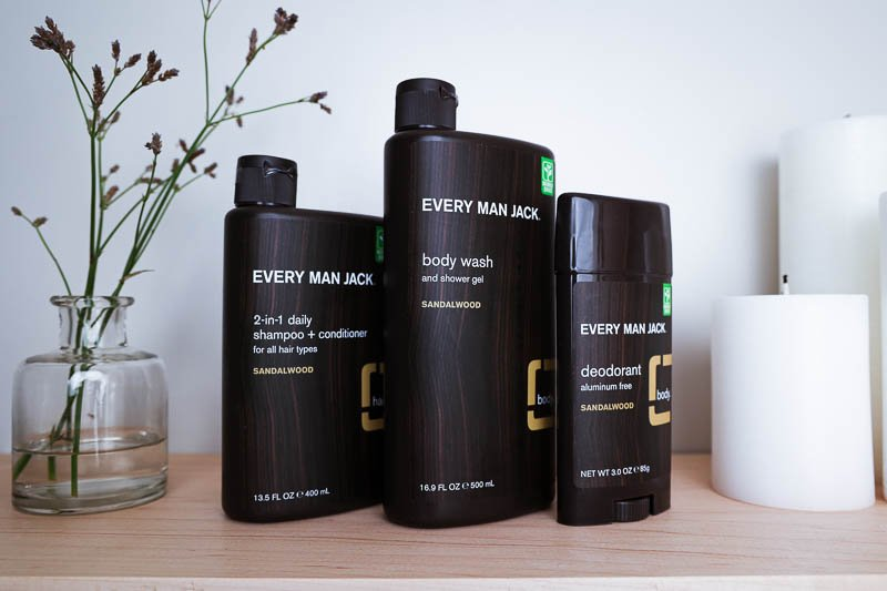 every man jack sandalwood body collection