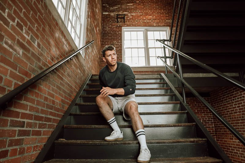 model wearing Homage go to cut off sweat shorts