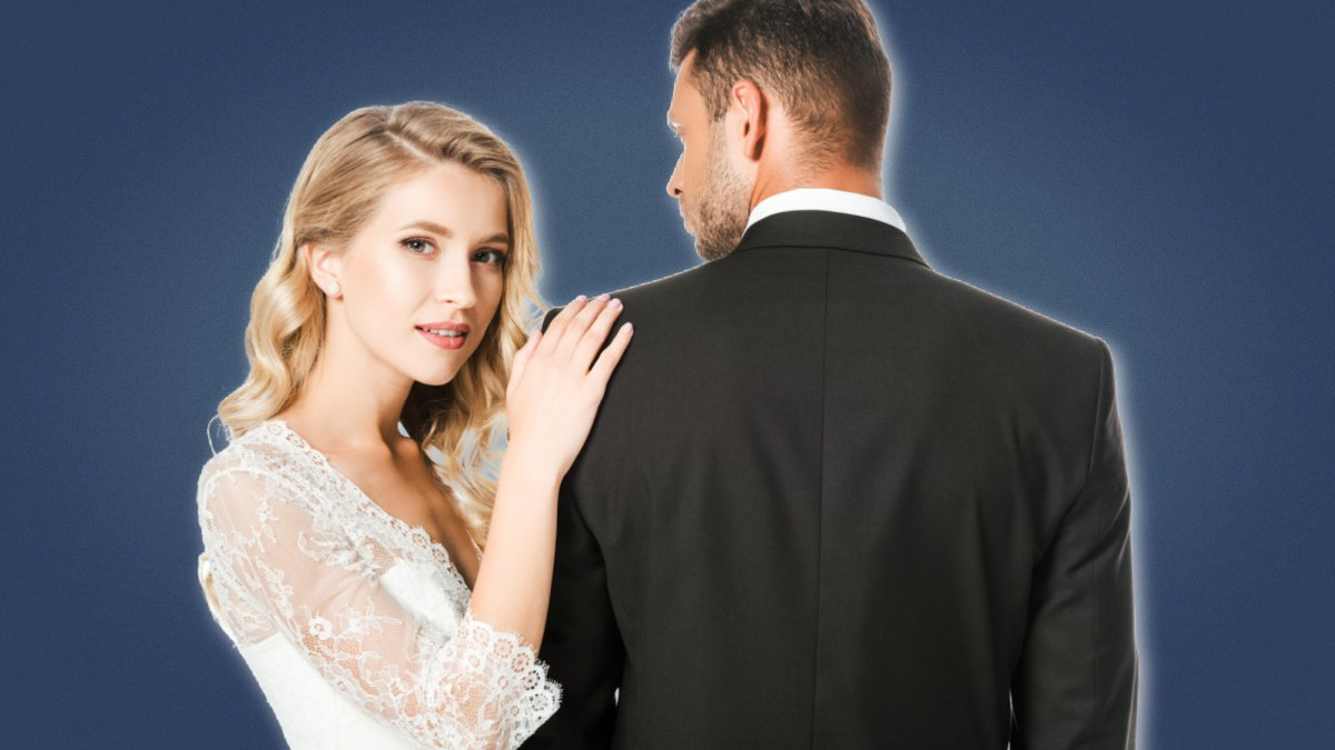 Hypergamy Attractive Bride in White Dress Holding Shoulder of Groom