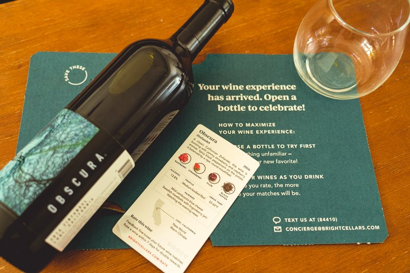 Bright Cellars wine bottle and fact card