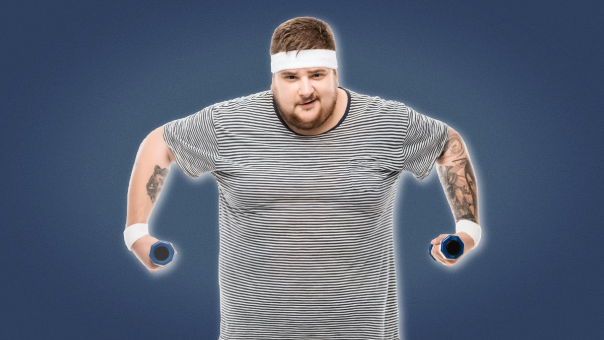 Man Boobs Overweight man with headband lifting dumbbells