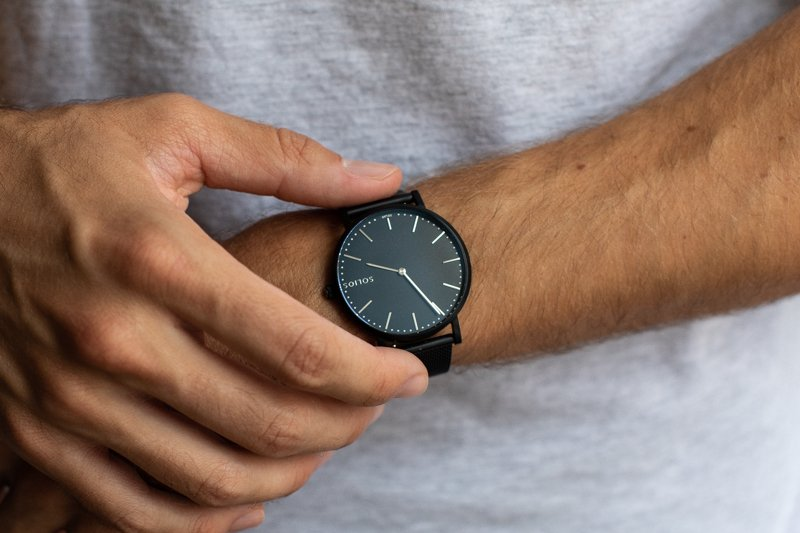 Solios Solar on wrist dial detail