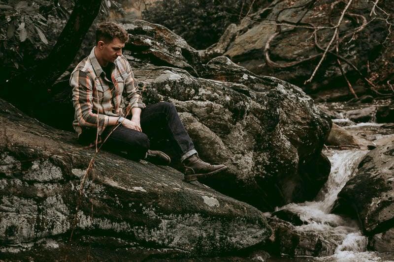 Thursday Boots Logger on model near river
