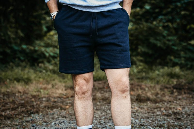 los angeles apparel sweat shorts on model