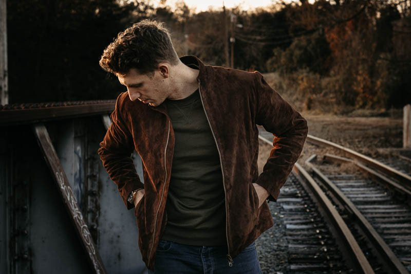 model checking pockets of suede leather jacket