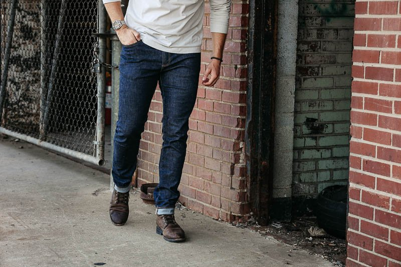 GAP skinny fit jeans on model 1