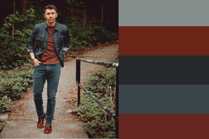 denim chore jacket with red fall colors